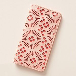 ANTHROPOLOGIE PINK AND CORAL PIPPA TRAVEL WALLET